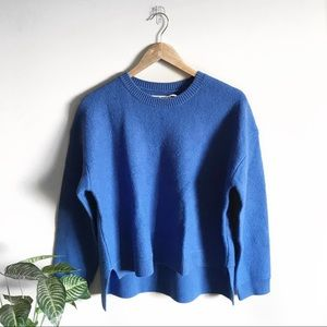Tory Burch Blue Droptail Crew Neck Sweater